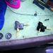 Egy használt, de javított, egy új kézifékkötél-csiga