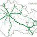 A cseh autópálya hálózat 2005-ben. Világos színnel az idõközben átadott vagy a közeljövõben átadandó szakaszok