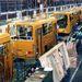 Ikarus gyártósor a hetvenes években, akkoriban a legkorszerűbb buszgyár volt