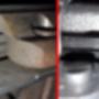 A régi és az új kuplung egy-egy (azonos) tárcsája. Nem nagyon látszik rajta a lefutott 200.000km. Ezek szerint a mechatronika ügyesen kezeli az erőátvitelt