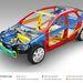 A kék acélok nagyszilárdságúak, a sárgák ultranagy szilárdságúak. Itt látszik, hogy a középső gyűrődő zónán kívül is van, ami védje az utascella integritását (a kép a Volvo V40)