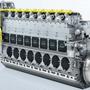 Dual Fuel hajómotor - a sárga színű cső a gázcső