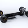 A jármű balra halad, tehát far-középmotoros. A kis háromhengerest hosszában építették be, elöl meg nincs differenciálmű, hanem lamellás kuplungok oldják meg a kiegyenlítő funkciót