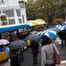 A sok céges esernyőtől úgy nézett ki a tér, mint valami NABI-fesztivál