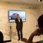 Thomas Faustmann, az Audi Hungária elnöke prezentál a világbemutatón