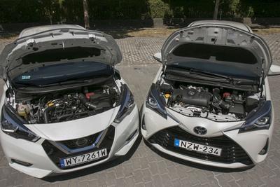 Modern motorok, de korszakos különbségek: a Yaris relatív nagy szívó, a Micra egy apró turbó