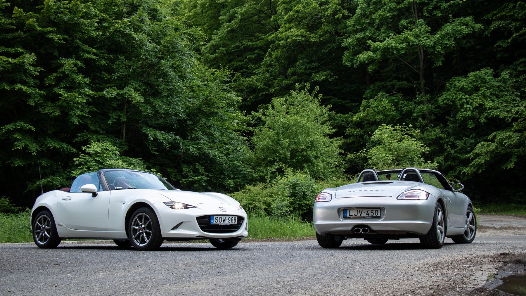 Klasszikus hosszmotoros, hátsókerekes autó a Mazda MX-5
